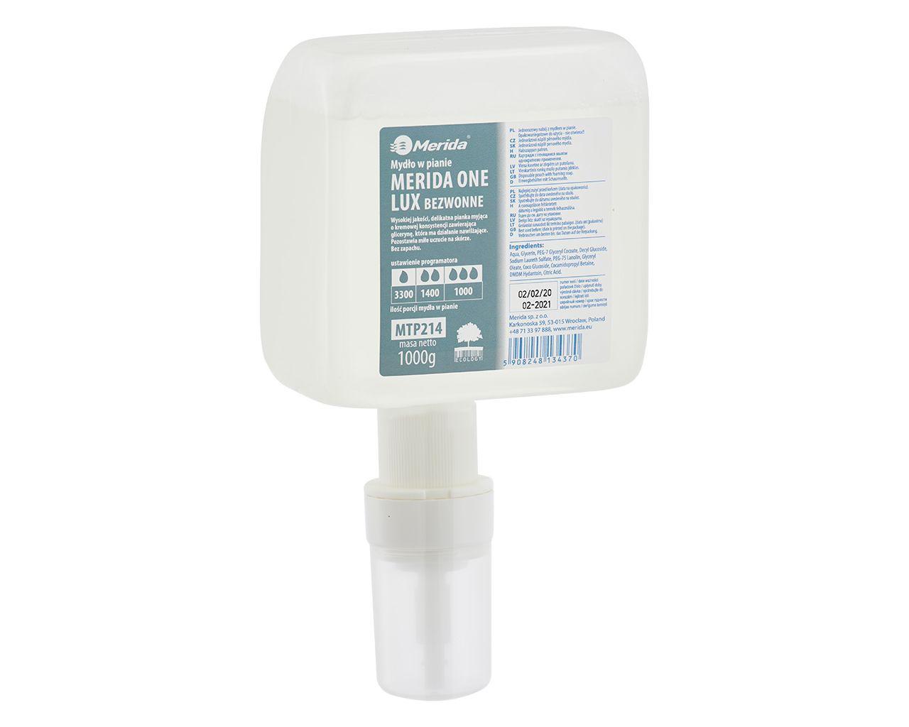 Mydło w pianie MERIDA ONE LUX BEZWONNE, jednorazowy wkład z pompką spieniającą do dozowników automatycznych, 1000 g, bez zapachu