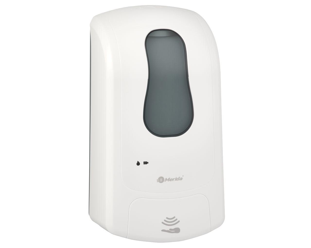Bezdotykowy automatyczny dozownik mydła w płynie MERIDA ONE pojemność zbiornika 1000 ml, biały
