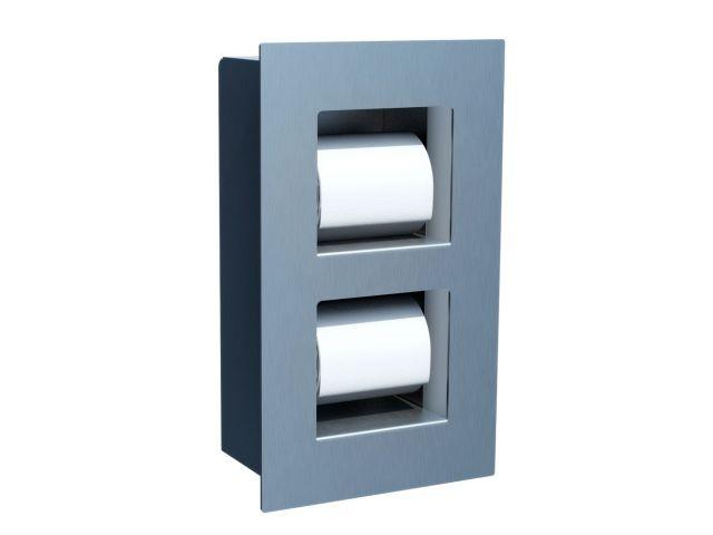 Wnękowy pojemnik na dwie małe rolki papieru     toaletowego, STAL MATOWA
