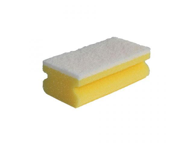 Zmywak profesjonalny nierysujący do delikatnych powierzchni, pianka żółta, fibra biała, opakowanie 10 szt.