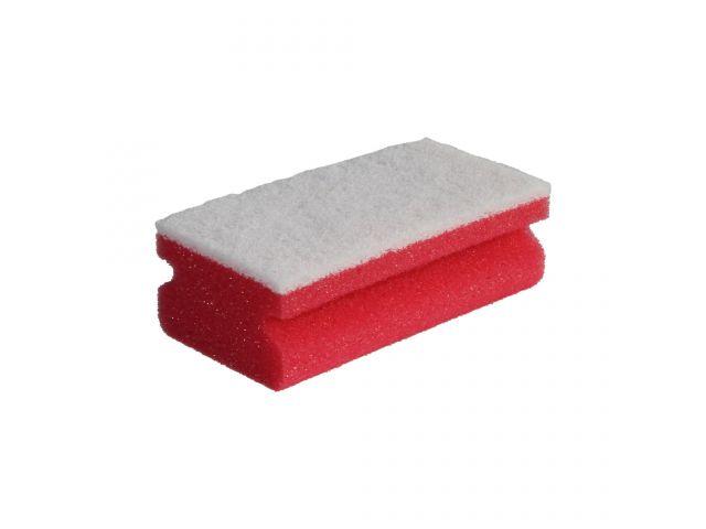 Zmywak profesjonalny nierysujący do delikatnych powierzchni, pianka czerwona, fibra biała, opakowanie 10 szt.