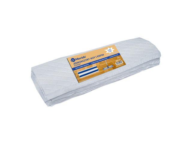 Jednorazowy mop z rzepem ECONOMY, biały, 43 x 13 cm, paczka 20 szt.