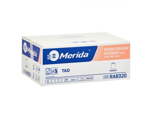 Prosoape într-o rolă cu adaptor MERIDA PREMIUM TAD AUTOMATIC MAXI, alb, cu două straturi, lungime 100 m, cutie cu 6 role
