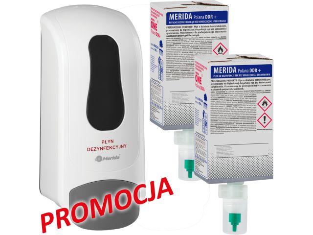 Dozownik płynu dezynfekcyjnego MERIDA ONE biały i dwa wkłady płynu dezynfekującego