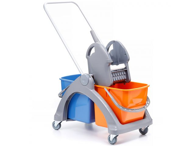 Wózek do sprzątania dwuwiadrowy z tworzywa sztucznego, 2 wiadra 25 l, prasa  do mopów