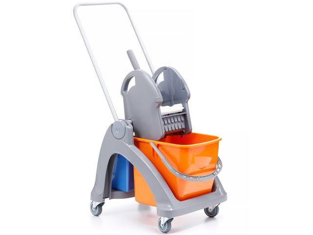 Wózek do sprzątania z tworzywa sztucznego, jedno wiadro 25 l + wiadro 6 l, prasa do mopów
