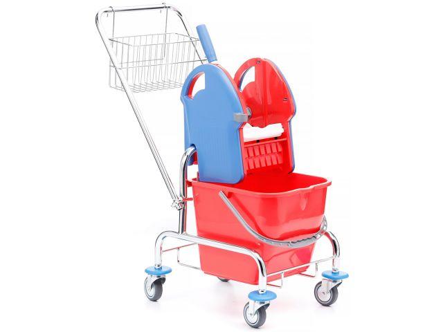 Wózek do sprzątania jednowiadrowy chromowany, wiadro 20 l, prasa do mopów, koszyk metalowy