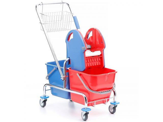 Wózek do sprzątania dwuwiadrowy chromowany, 2 wiadra 20 l, prasa do mopów, koszyk metalowy