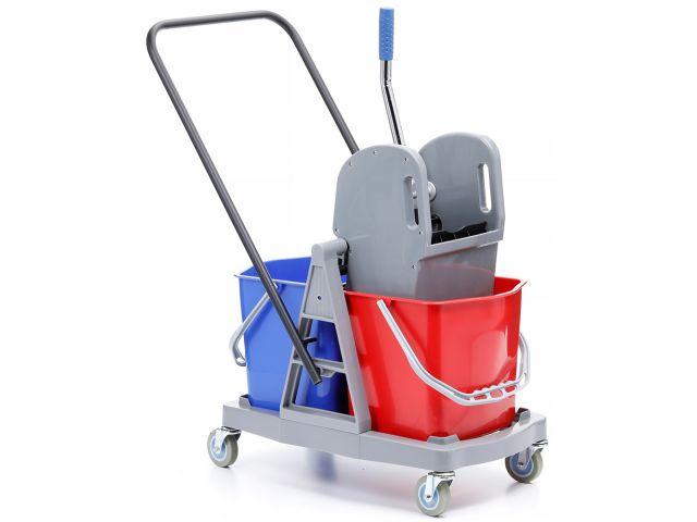 Wózek do sprzątania dwuwiadrowy, dwa wiadra 17 l. prasa do mopów