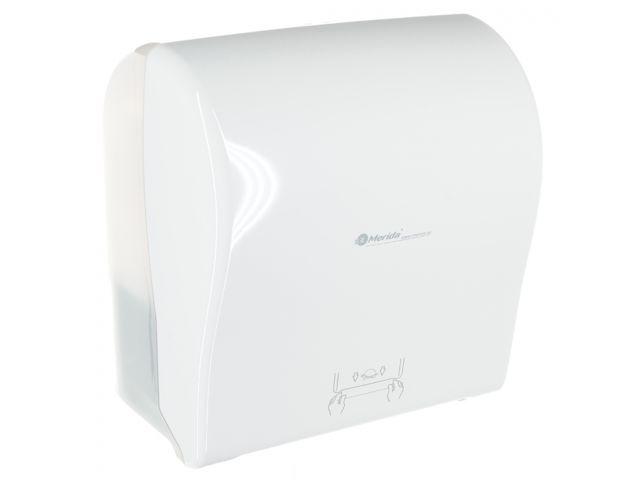 MERIDA SOLID CUT mechaniczny podajnik ręczników papierowych w rolach AUTOMATIC MAXI, front pełen biały - połysk, tył transparentny jasny - połysk