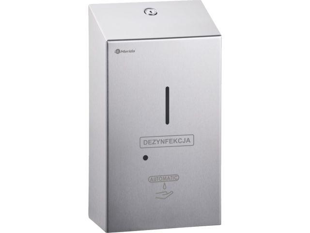 Bezdotykowy automatyczny dozownik płynu dezynfekcyjnego w sprayu na jednorazowe wkłady 1000 ml, MERIDA STELLA, stal matowa