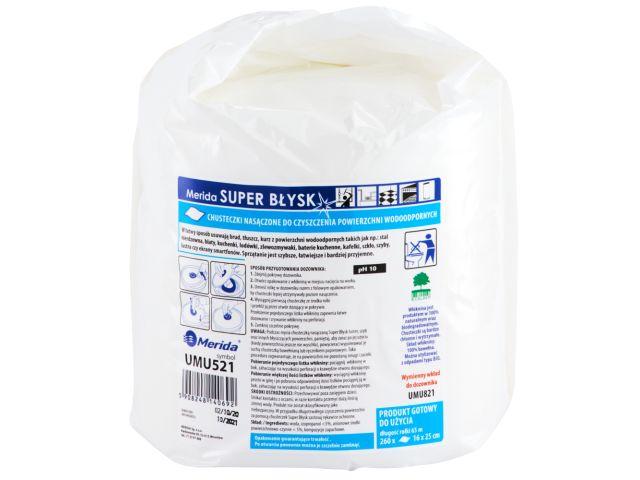 Chusteczki nasączone do czyszczenia powierzchni wodoodpornych MERIDA SUPER BŁYSK, rolka 65 m, 260 listków - wkład uzupełniający