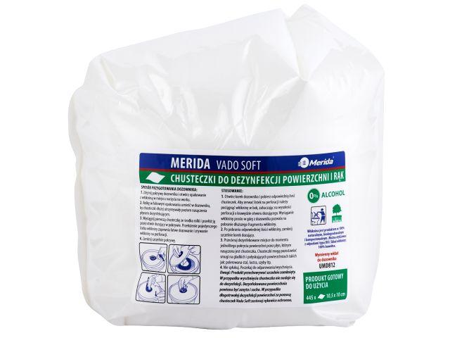 Chusteczki nasączone do dezynfekcji rąk i powierzchni MERIDA VADO SOFT, wkład uzupełniający 44,5 m, 445 listków