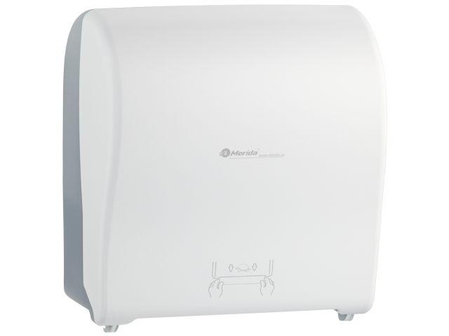 MERIDA SOLID CUT mechaniczny podajnik ręczników papierowych w rolach AUTOMATIC MAXI, front pełen biały - mat, tył transparentny jasny - mat