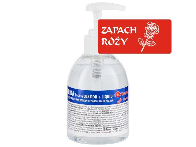 Płyn dezynfekcyjny o zapachu róży MERIDA POLANA LUX DDR+ LIQUID do higienicznej dezynfekcji rąk, butelka 300 ml z pompką