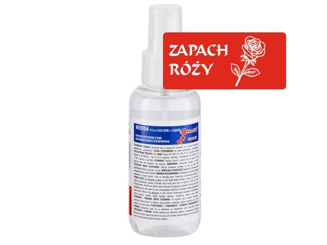 Płyn dezynfekcyjny o zapachu róży MERIDA POLANA LUX DDR+ LIQUID do higienicznej dezynfekcji rąk, butelka 100 ml z atomizerem
