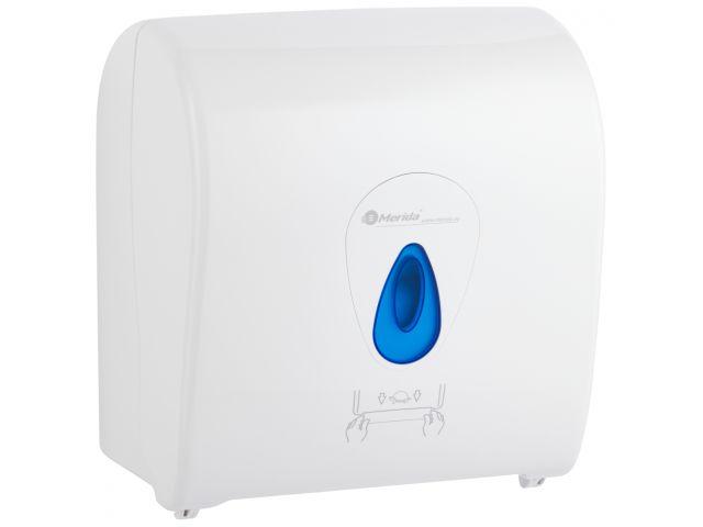 MERIDA TOP mechaniczny podajnik ręczników papierowych w rolach AUTOMATIC MAXI, biały połysk, okienko niebieskie