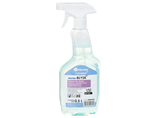 MERIDA BŁYSK płyn do czyszczenia powierzchni wodoodpornych do codziennego użytku 500 ml, butelka ze spryskiwaczem