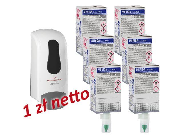 Dozownik płynu dezynfekcyjnego MERIDA ONE biały za 1 zł netto przy zakupie 6 wkładów z płynem MERIDA POLANA DDR+
