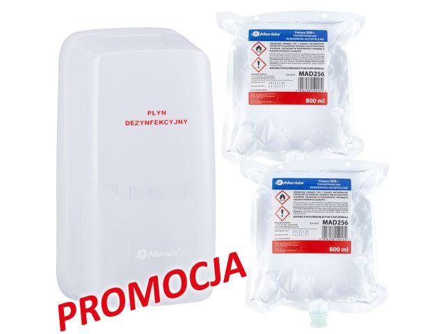 Automatyczny bezdotykowy dozownik płynu dezynfekcyjnego MERIDA HARMONY AUTOMATIC i 2 wkłady z płynem MERIDA POLANA DDR+