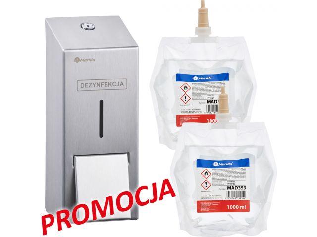 Dozownik płynu dezynfekcyjnego MERIDA STELLA i 2 wkłady z płynem MERIDA POLANA DDR+
