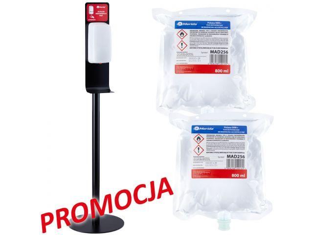 Wolnostojący zestaw do dezynfekcji rąk z automatycznym bezdotykowym dozownikiem MERIDA HARMONY AUTOMATIC i 2 wkłady z płynem MERIDA POLANA DDR+