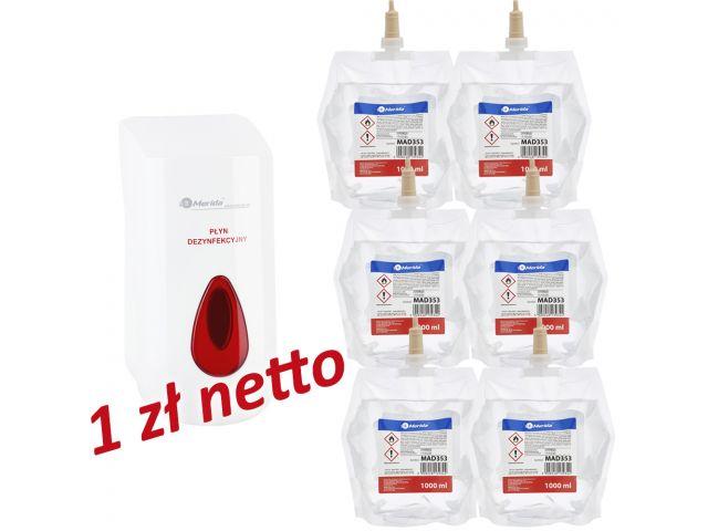Dozownik płynu dezynfekcyjnego MERIDA TOP za 1 zł netto przy zakupie 6 wkładów z płynem MERIDA POLANA DDR+