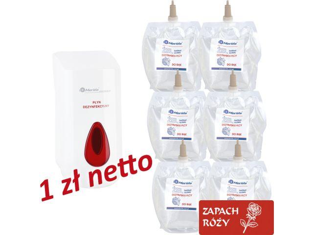 Dozownik żelu dezynfekcyjnego MERIDA TOP za 1 zł netto przy zakupie 6 wkładów z żelem MERIDA o zapachu róży