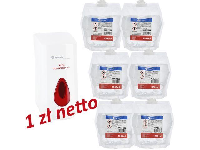 Dozownik płynu dezynfekcyjnego w sprayu MERIDA TOP za 1 zł netto przy zakupie 6 wkładów z płynem MERIDA POLANA DDR+