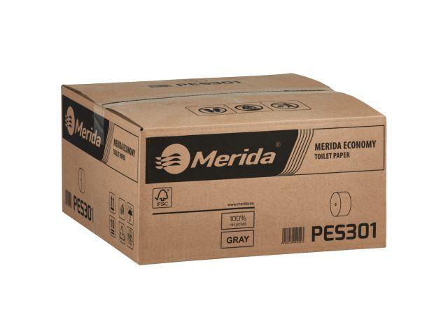 Papier toaletowy bez gilzy MERIDA ECONOMY, szary, średnica 12 cm,  długość 125 m, jednowarstwowy,  karton 18 szt
