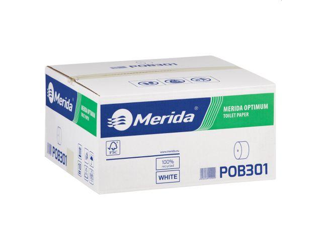 Papier toaletowy bez gilzy MERIDA OPTIMUM, biały, średnica 12 cm, długość 85 m, dwuwarstwowy,  karton 18 szt