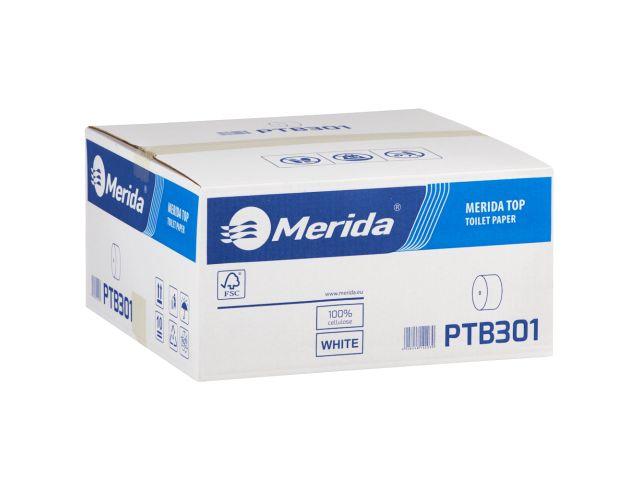 Papier toaletowy bez gilzy MERIDA TOP, biały, średnica 12 cm, długość 85 m, dwuwarstwowy,  karton 18 szt