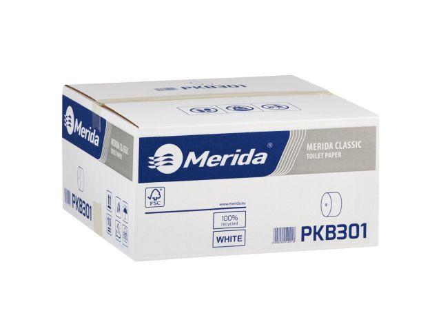 Papier toaletowy bez gilzy MERIDA CLASSIC, biały, średnica 12 cm, długość 125 m, jednowarstwowy,  karton 18 szt