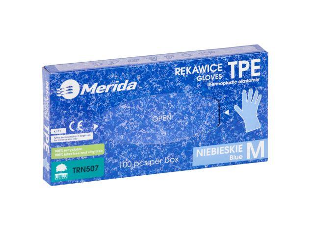 Rękawice elastomerowe TPE, niebieskie, rozmiar M, opakowanie 100 szt.