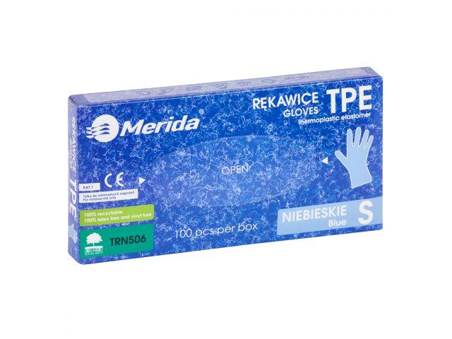 Rękawice elastomerowe TPE, niebieskie, rozmiar S, opakowanie 100 szt.