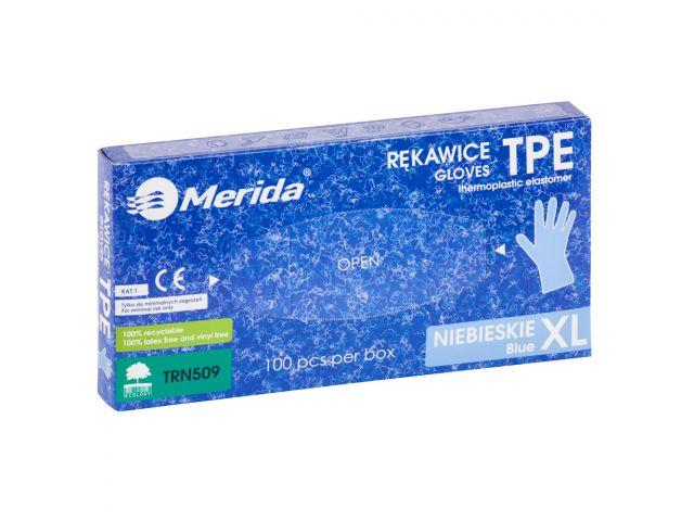 Rękawice elastomerowe TPE, niebieskie, rozmiar XL, opakowanie 100 szt.