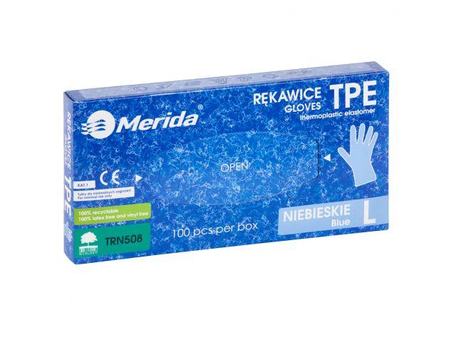 Rękawice elastomerowe TPE, niebieskie, rozmiar L, opakowanie 100 szt.