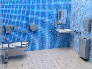Łazienka niebieska - w aranżacji użyto urządzeń z linii MERIDA STELLA oraz poręczy dla niepełnosprawnych