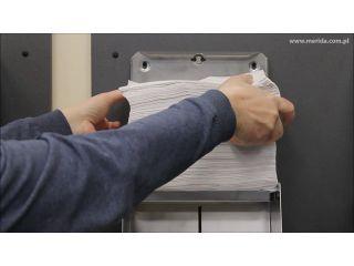 9. Uzupełnienie wkładu w pojemniku na pojedyncze ręczniki papierowe z linii MERIDA STELLA MAXI, stal matowa (ASM101)